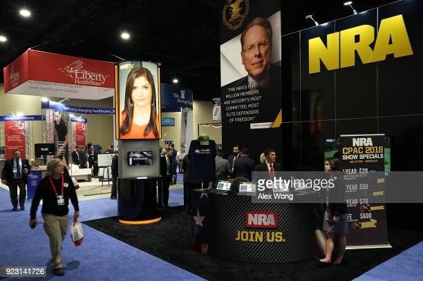 The booth of National Rifle Association is seen during CPAC 2018 February 22 2018 in National Harbor Maryland The American Conservative Union hosted...