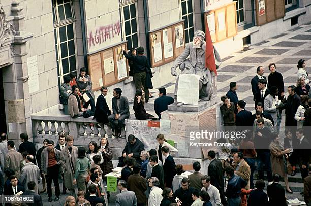 The Booth Of The Unified Socialist Party Occupying The Courtyard Ot The Sorbonne In Paris During The Strikes Of May 1968
