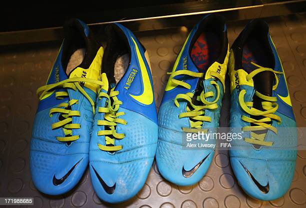 The boots of Andres Iniesta of Spain on display in the Spain changing room prior to the FIFA Confederations Cup Brazil 2013 Final match between...