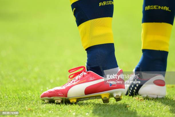 The boots of Arsenal's Tomas Rosicky