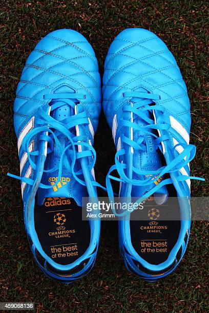The boots of Benedikt Roecker of Greuther Fuerth are pictured prior to the Second Bundesliga match between Greuther Fuerth and Karlsruher SC at...