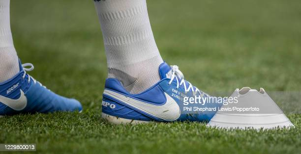 The boots of Chelsea defender John Terry during the Premier League match between Chelsea and Sunderland at Stamford Bridge on May 21, 2017 in London,...