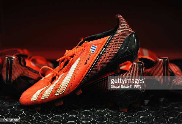 The boots of Diego Forlan of Uruguay on display prior to the FIFA Confederations Cup Brazil 2013 Group B match between Spain and Uruguay at the Arena...