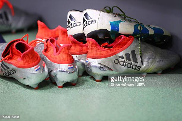 the boots of Milan Badelj of Croatia are on show in the dressing room prior to the UEFA EURO 2016 Group D match between Czech Republic and Croatia at...