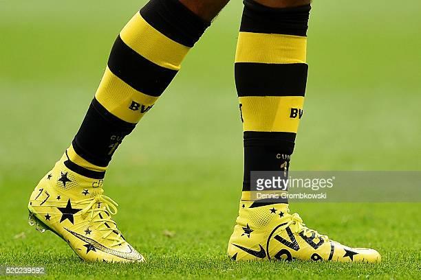 The boots of PierreEmerick Aubameyang of Borussia Dortmund during the Bundesliga match between FC Schalke 04 and Borussia Dortmund at VeltinsArena on...