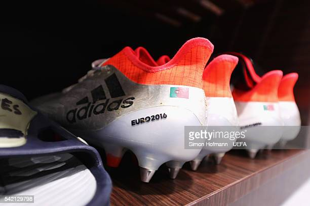 The boots worn by Anthony Lopes of Portugal are seen in the dressing room prior to the UEFA EURO 2016 Group F match between Hungary and Portugal at...