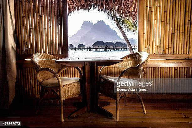 the bora bora lagoon - hut stock pictures, royalty-free photos & images