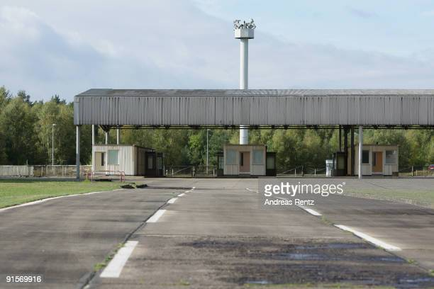 The border checkpoint HelmstedtMarienborn memorial car entry is pictured on October 7 2009 in Marienborn Germany The Border checkpoint...