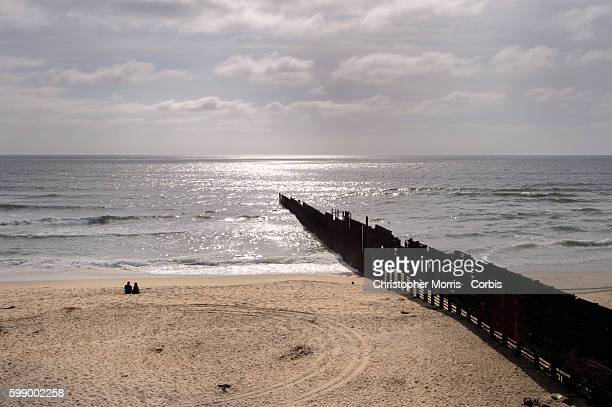 The Border Fence Between Imperial Beach Near San Ysidro California And Playas De Tijuana