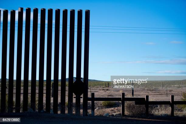 The border fence decrease from tall to waist high just outside the city limits in Columbus New Mexico on February 19 on the US/Mexico border...