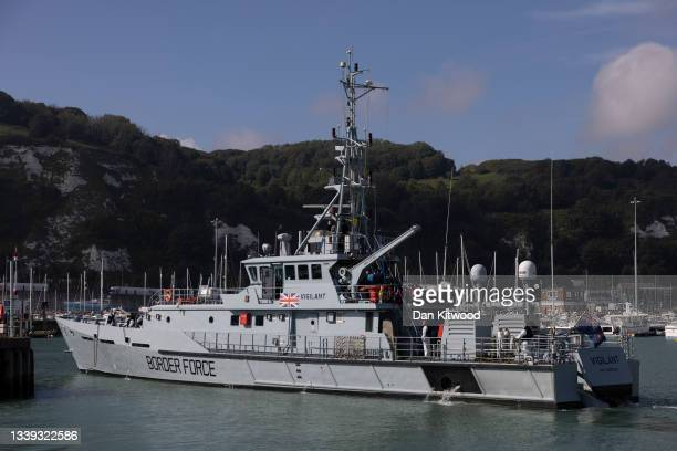 The Border Force HMC Vigilant arrives at Dover docks carrying migrants picked up in the channel on September 9, 2021 in Dover, England. Facing a...