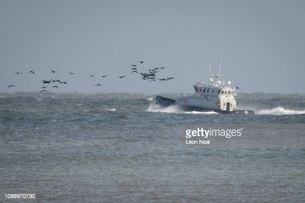 The Border Force vessel 'Nimrod patrols the English Channel on January 02 2019 in Dover England Following a number of small vessels carrying migrants...