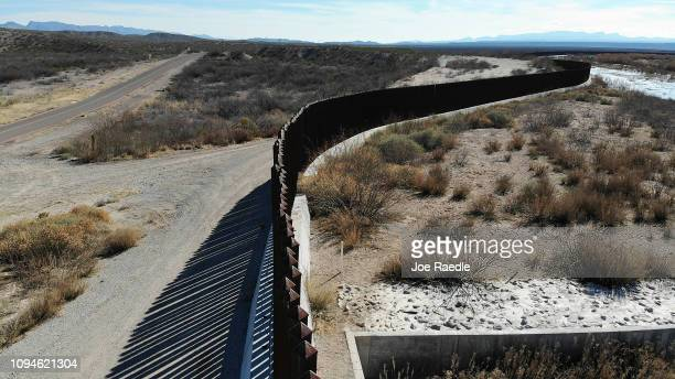 The border wall is seen on January 15, 2019 in Esperanza, Texas. The U.S. Government is partially shut down as President Donald Trump is asking for...