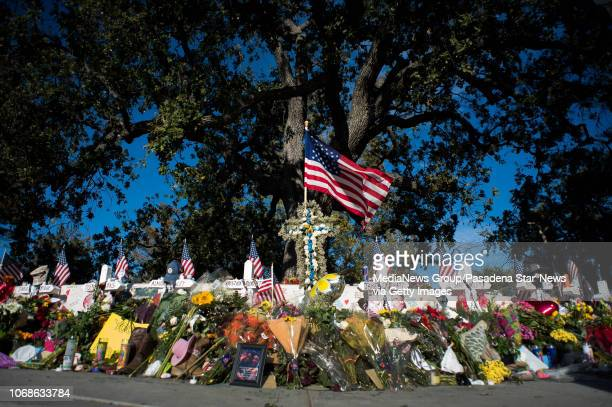 The Borderline Bar & Grill mass shooting memorial in Thousand Oaks on Friday, November 16, 2018.