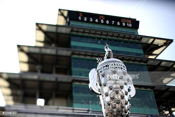 The BorgWarner Trophy sits on pit lane before the start of the IndyCar Series 92nd running of the Indianapolis 500 at Indianapolis Motor Speedway on...