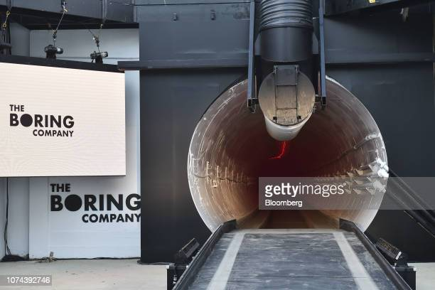 The Boring Co. Signage is displayed prior to an unveiling event for the company's Hawthorne test tunnel in Hawthorne, California, U.S., on Tuesday,...