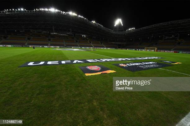 The Borisov Arena before the UEFA Europa League Round of 32 First Leg match between BATE Borisov and Arsenal at Borisov Arena on February 14 2019 in...