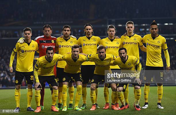The Borrussia Dortmund team line up during the UEFA Europa League Round of 16 second leg match between Tottenham Hotspur and Borussia Dortmund at...