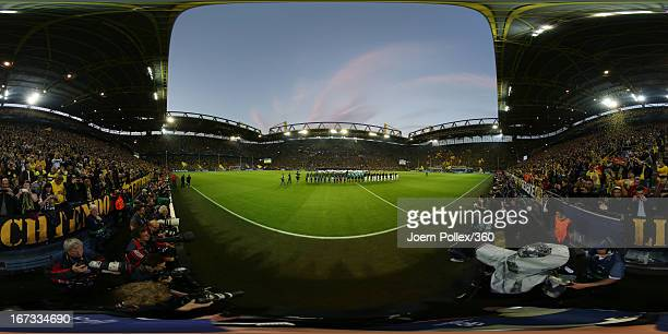 The Borussia Dortmund and Real Madrid teams line up prior to the UEFA Champions League semi final first leg match between Borussia Dortmund and Real...