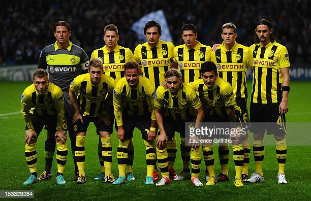 The Borussia Dortmund players line up for a team photo prior to the UEFA Champions League Group D match between Manchester City and Borussia Dortmund...