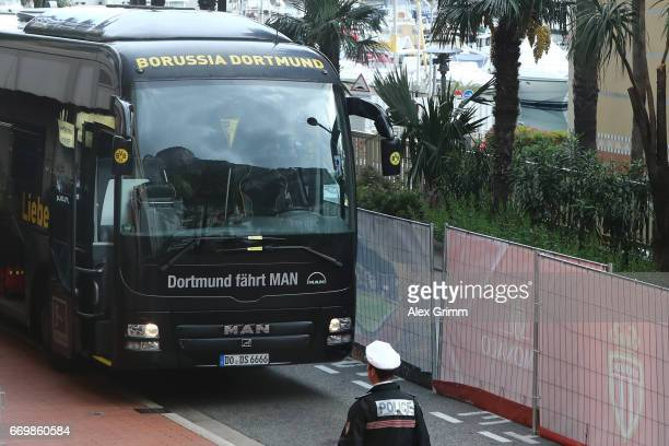The Borussia Dortmund team bus arrives at the stadium prior to the Borussia Dortmund Press Conference at the Stade Louis II on April 18 2017 in...