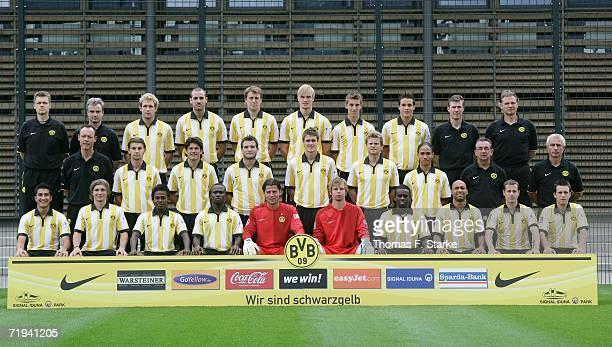 The Borussia Dortmund team physiotherapist Peter Kuhnt physiotherapist Frank Zoellner Florian Kringe Christoph Metzelder Markus Brzenska Martin...