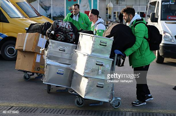 The Borussia Moenchengladbach team arrive at the airport on day one of the Borussia Moenchengladbach training camp on January 8 2015 in Belek Turkey