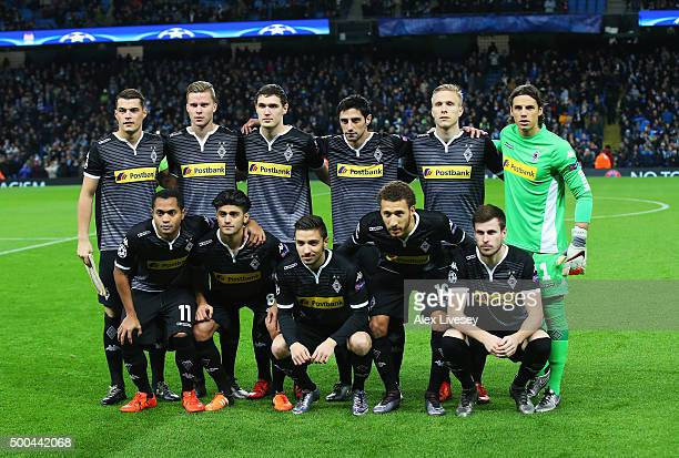 The Borussia Monchengladbach team pose for a group photo prior to the UEFA Champions League Group D match between Manchester City and Borussia...