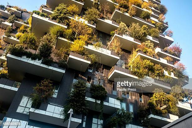 The Bosco Verticale buildings in autumn in Porta Nuova complex. The complex is an 11-story office building. Its height is 111 meters and 76 meters...