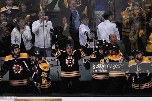 The Boston Bruins bench celebrates in the final moments of their 1 to 0 win over the Tampa Bay Lightning in Game Seven of the Eastern Conference...