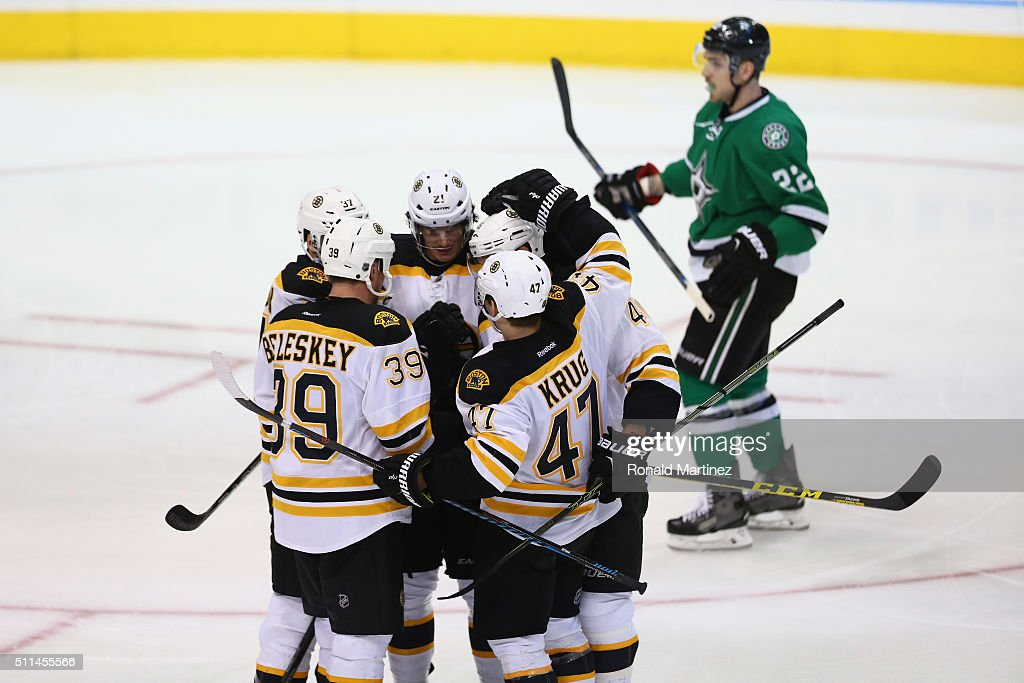 The Boston Bruins celebrate a goal against the Dallas Stars in thethird period at American Airlines Center on February 20, 2016 in Dallas, Texas.