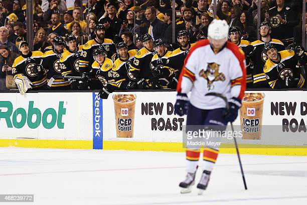The Boston Bruins celebrate after Milan Lucic of the Boston Bruins scored the gamd winning goal against the Florida Panthers during the third period...