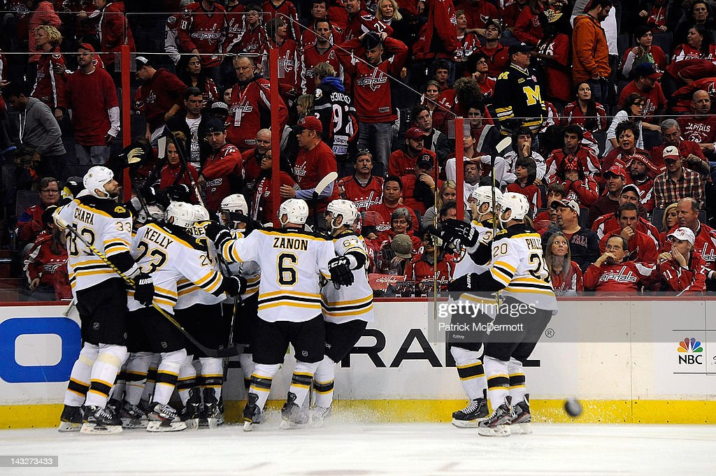 The Boston Bruins celebrate after Tyler Seguin #19 scored the game winning goal in overtime against the Washington Capitals in Game Six of the Eastern Conference Quarterfinals during the 2012 NHL Stanley Cup Playoffs at Verizon Center on April 22, 2012 in Washington, DC.
