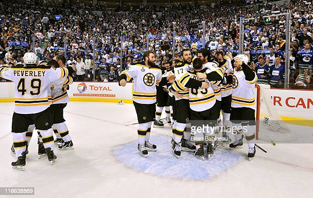 The Boston Bruins celebrate winning the Stanley Cup after they defeated the Vancouver Canucks 40 in Game Seven of the 2011 NHL Stanley Cup Finals at...