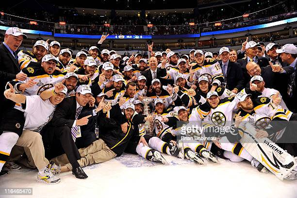 The Boston Bruins celebrate with the Stanley Cup after they defeated the Vancouver Canucks 4-0 in Game Seven of the 2011 NHL Stanley Cup Finals at...
