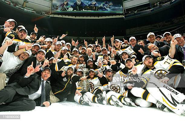 The Boston Bruins celebrate with the Stanley Cup after they defeated the Vancouver Canucks 40 in Game Seven of the 2011 NHL Stanley Cup Finals at the...