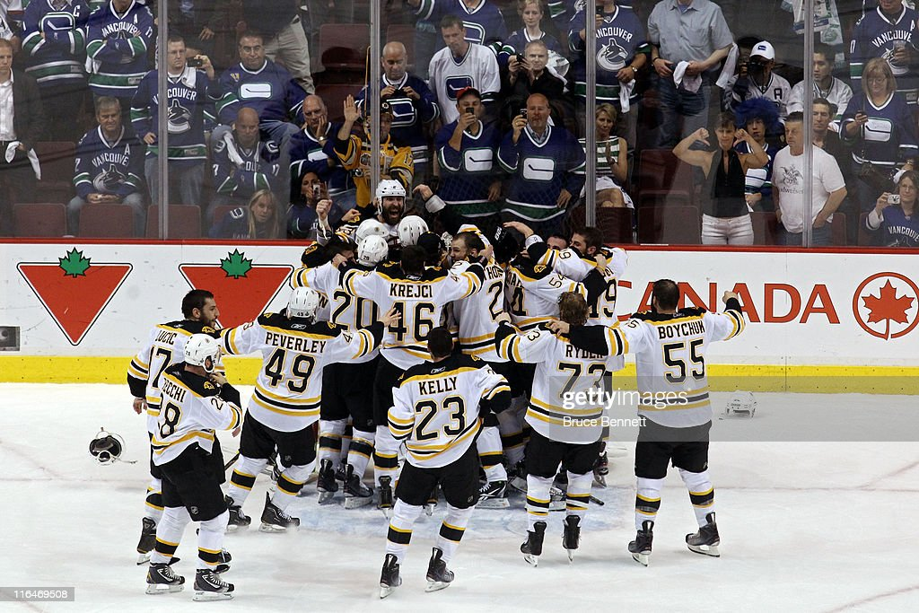 The Boston Bruins celebrates after defeating the Vancouver Canucks in Game Seven of the 2011 NHL Stanley Cup Final at Rogers Arena on June 15, 2011 in Vancouver, British Columbia, Canada. The Boston Bruins defeated the Vancouver Canucks 4 to 0.
