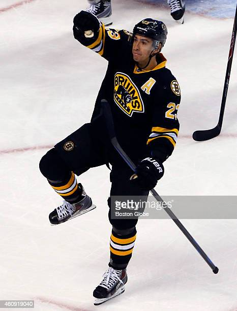 The Boston Bruins' Chris Kelly celebrates his goal against the Buffalo Sabres during the second period of play at TD Garden in Boston on December 21...