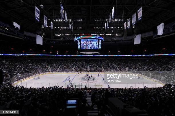 The Boston Bruins face off against the Vancouver Canucks to start Game Five of the 2011 NHL Stanley Cup Final at Rogers Arena on June 10, 2011 in...