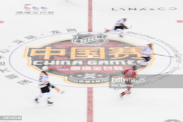The Boston Bruins play against the Calgary Flames at the Universiade Sports Center on September 15 2018 in Shenzhen China
