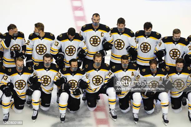 The Boston Bruins pose for a photo prior to their exhibition game against the Columbus Blue Jackets before to the 2020 NHL Stanley Cup Playoffs at...