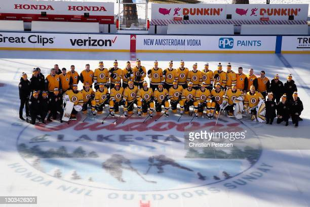 The Boston Bruins poses for a team photograph before the 'NHL Outdoors At Lake Tahoe' against the Philadelphia Flyers at the Edgewood Tahoe Resort...