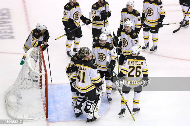 The Boston Bruins react after their 32 loss during the second overtime period to lose Game Five of and the Eastern Conference Second Round to the...