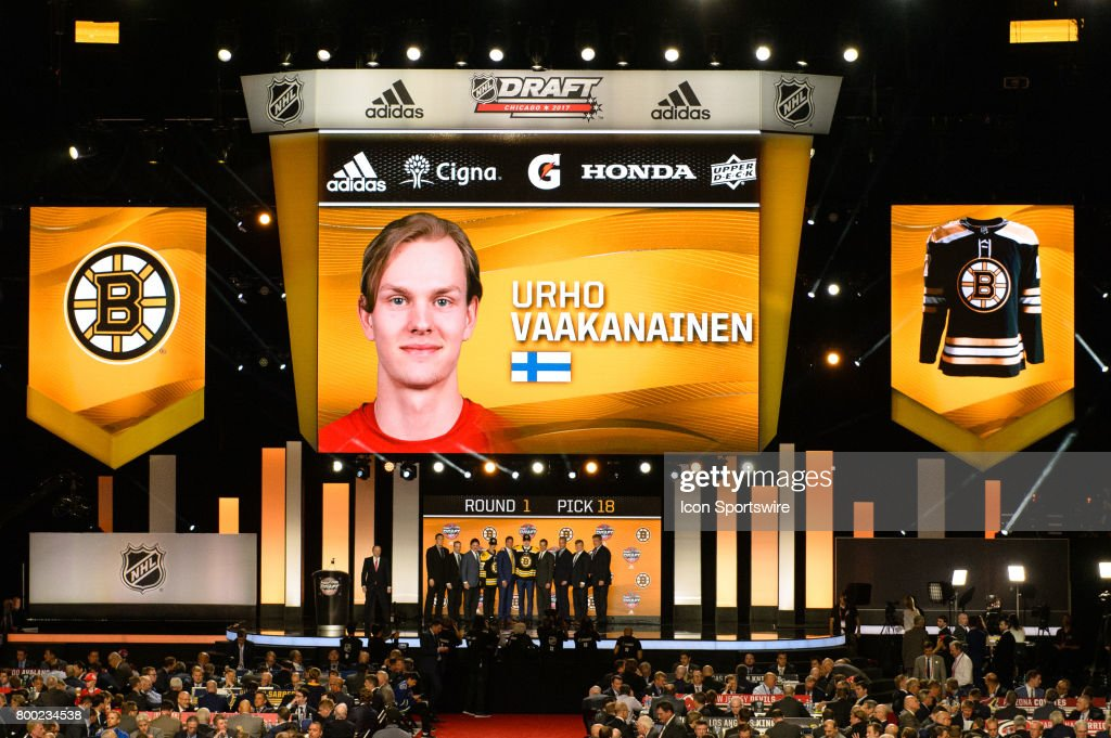 The Boston Bruins select defenseman Urho Vaakanainen with the 18th pick in the first round of the 2017 NHL Draft on June 23, 2017, at the United Center in Chicago, IL.