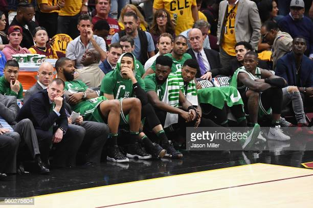The Boston Celtics bench reacts in the second half against the Cleveland Cavaliers during Game Three of the 2018 NBA Eastern Conference Finals at...