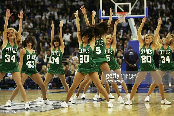 The Boston Celtics cheerleaders entertain the crowd during NBA Europe Live 2007 Tour match between the Boston Celtics and the Minnesota Timberwolves...