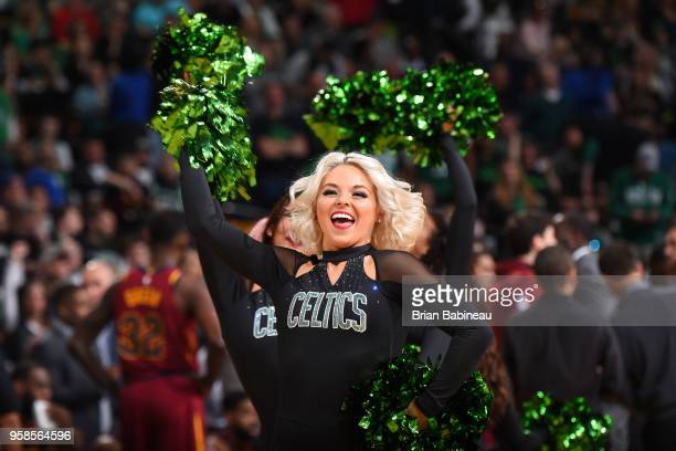 The Boston Celtics cheerleaders perform before Game One of the Eastern Conference Finals against the Cleveland Cavaliers during the 2018 NBA Playoffs...