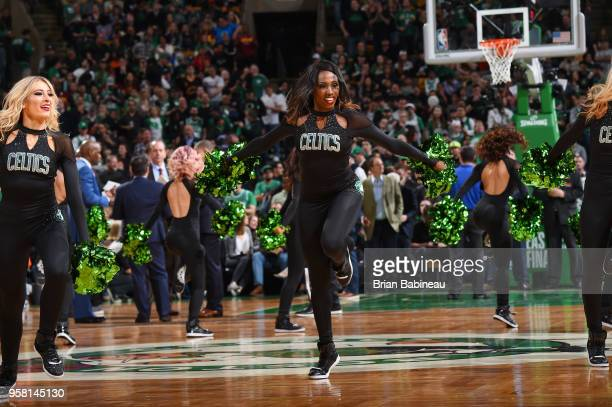 the Boston Celtics cheerleaders perform during Game One of the Eastern Conference Finals of the 2018 NBA Playoffs between the Boston Celtics and...