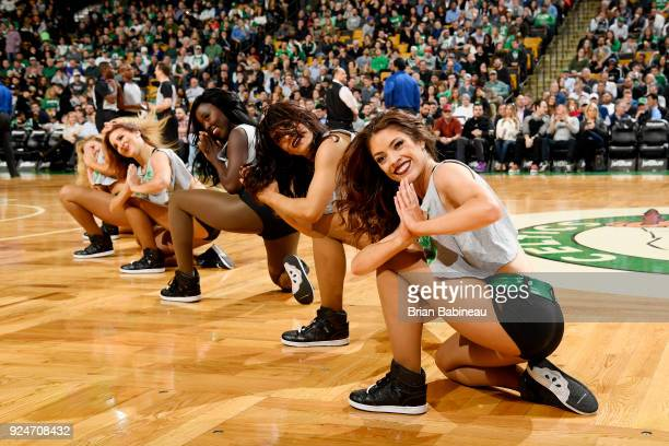 the Boston Celtics cheerleaders perform during the game against the Memphis Grizzlies on February 26 2018 at the TD Garden in Boston Massachusetts...