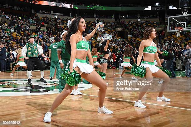 The Boston Celtics cheerleaders perform their routine before the game against the Atlanta Hawks on December 18 2015 at the TD Garden in Boston...